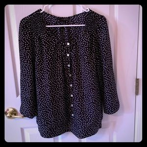 The Limited 3/4 Sleeve Polka Dot Blouse